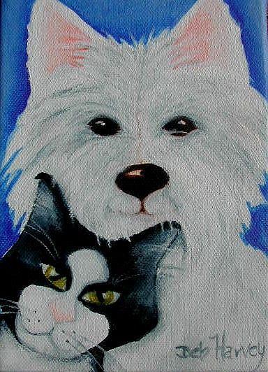 Art: Tuxedo & Westie by Artist Deb Harvey