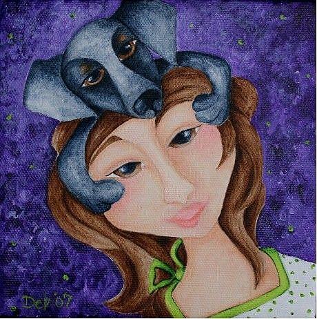 Art: Doxie Hug in the Lilacs by Artist Deb Harvey