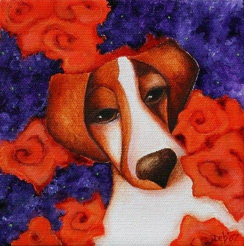 Art: JRT Lilacs and Roses by Artist Deb Harvey