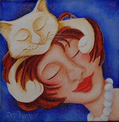 Art: Kitty Hug 4 by Artist Deb Harvey