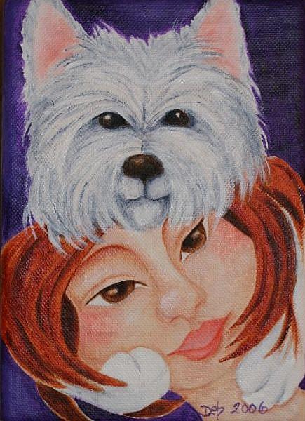 Art: Westie Hair Hug by Artist Deb Harvey