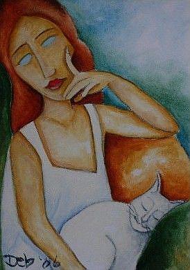 Art: Modigliani Cat by Artist Deb Harvey