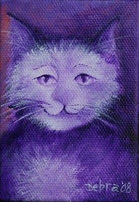 Art: Purple Kitty by Artist Deb Harvey