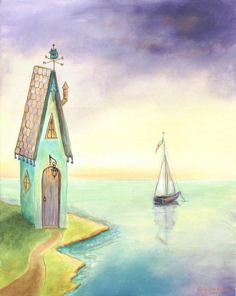 Art: Fairy Tale House by the Sea by Artist Cynthia Schmidt