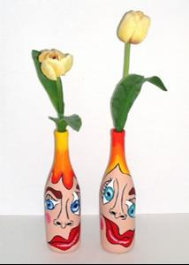 Detail Image for art Eye of the Beholder 2 (2 pc. painted wine bottle set)