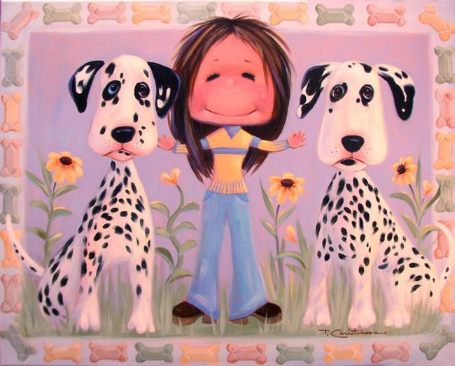 Art: Dominoe, Amy & Lucky by Artist Patricia  Lee Christensen