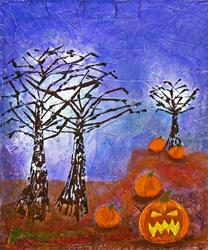 Art: Evil Pumpkin Patch by Artist Diane G. Casey