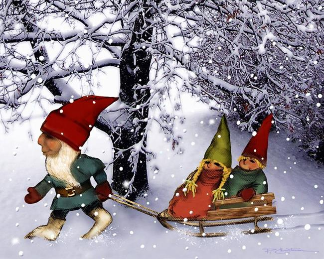 Art: Papa Gnome Pulling Sled for the Twins by Artist Patricia  Lee Christensen