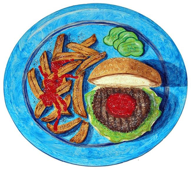 Art: Blue Plate Special 2 (Burger & Fries) by Artist Diane G. Casey