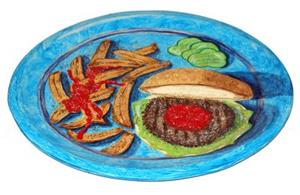 Detail Image for art Blue Plate Special 2 (Burger & Fries)
