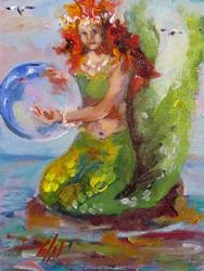 Art: Mermaid with Bubble Looking Glass-sold by Artist Delilah Smith