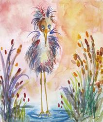 Art: Whimsical Heron by Artist Delilah Smith