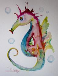 Art: Pink and Blue Seahorse by Artist Delilah Smith