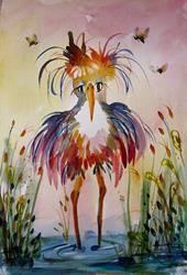 Art: Long Legged Heron-SOLD by Artist Delilah Smith