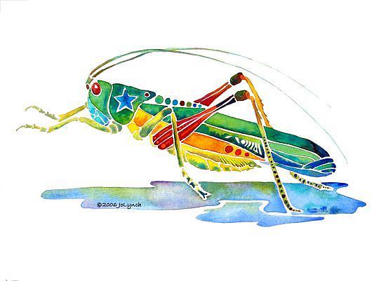 Art: Whimzical Grasshopper by Artist Jo Lynch