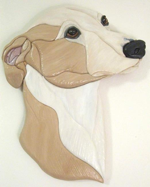 Art: Custom Whippet Original Painted Intarsia Art by Artist Gina Stern