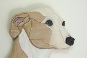 Detail Image for art Custom Whippet Original Painted Intarsia Art