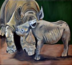 Art: Mom and baby Rhino by Artist Dia Spriggs