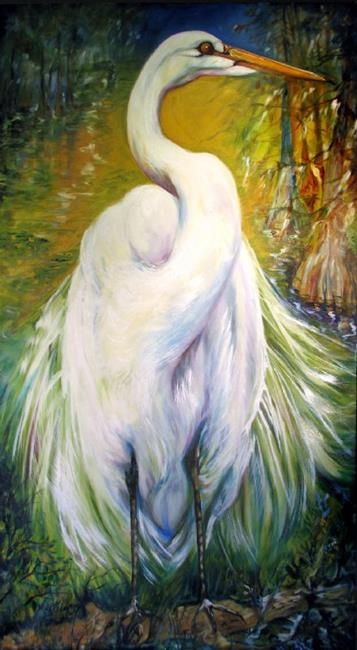 Great white egret of louisiana wildlife by marcia for White heron paint