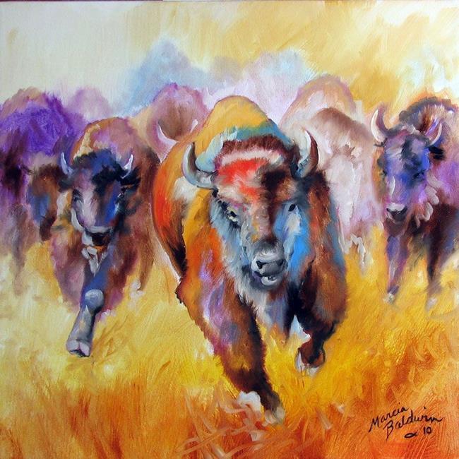 Art: BUFFALO RUN by Artist Marcia Baldwin