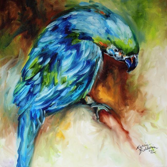 Art: AZURE BLUE PARROT ABSTRACT by Artist Marcia Baldwin