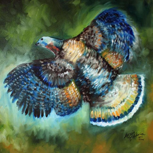 Art: WILD TURKEY IN FLIGHT by Artist Marcia Baldwin