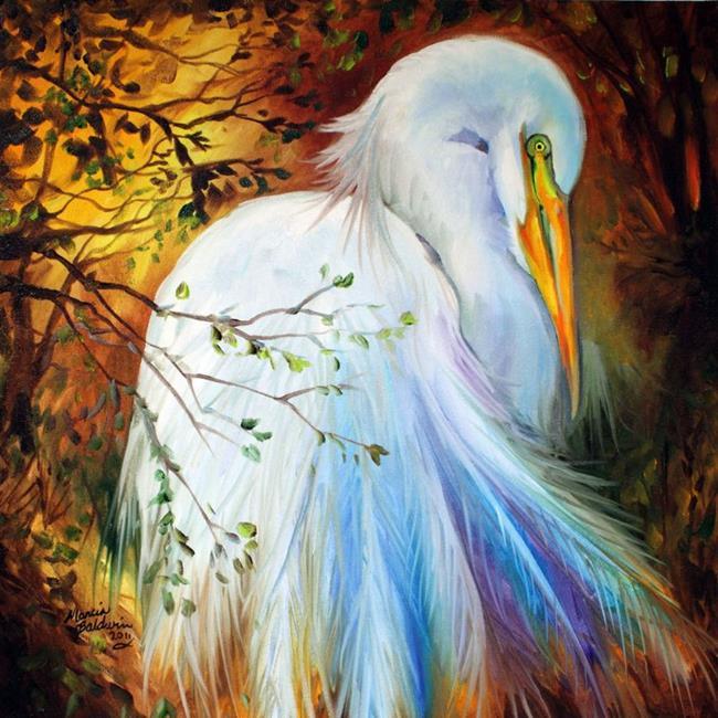 Art: WHITE EGRET SOLITUDE by Artist Marcia Baldwin