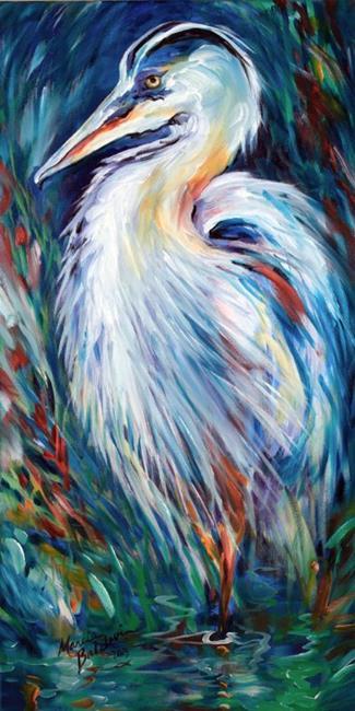 Art: ABSTRACT BLUE HERON by Artist Marcia Baldwin