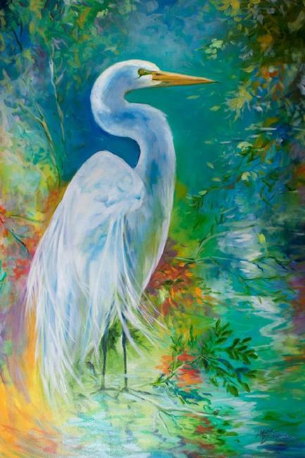 Art: WHITE EGRET LANDSCAPE WATERS by Artist Marcia Baldwin