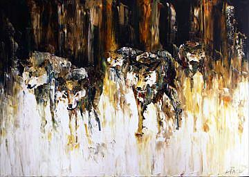 Art: Wolf Pack by Artist Laurie Justus Pace