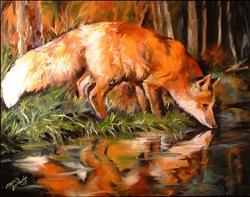Art: EVENING FOX by Artist Marcia Baldwin
