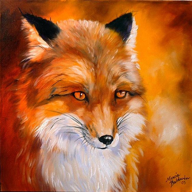 Art: RED FOX FACE by Artist Marcia Baldwin