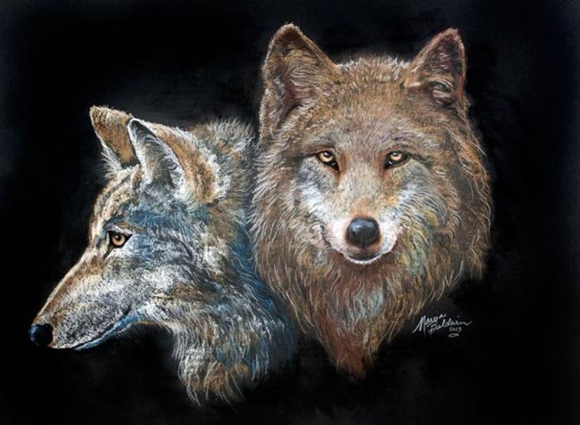 Art: WOLVES in PASTEL by Artist Marcia Baldwin