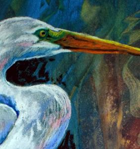 Detail Image for art GREAT WHITE HERON in PASTEL ABSTRACT