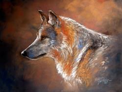 Art: LONE WOLF PASTEL by Artist Marcia Baldwin