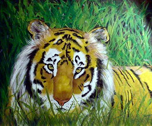 Art: Relaxing TIger by Artist Dia Spriggs