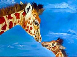 Art: Mom and baby Giraffe by Artist Dia Spriggs