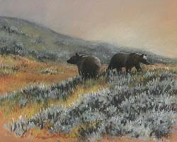 Art: Grizzly Bear Pair by Artist Lynn Bickerton Chan