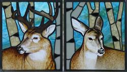 Art: Buck and Doe by Artist Dawn Lee Thompson
