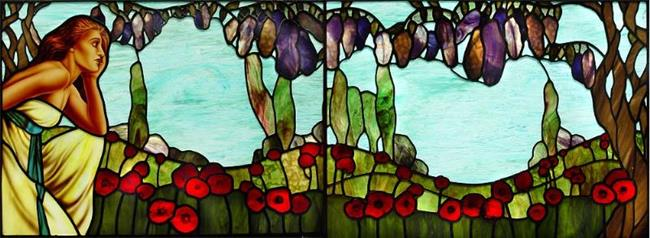 Art: Seated Woman with Poppies and Wisteria: diptych by Artist Dawn Lee Thompson