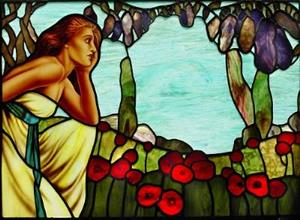Detail Image for art Seated Woman with Poppies and Wisteria: diptych