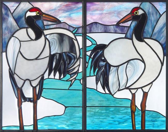 Art: Snow Cranes by Artist Dawn Lee Thompson