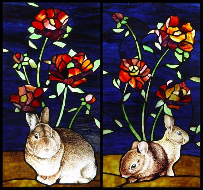 Art: Rabbits and Roses by Artist Dawn Lee Thompson