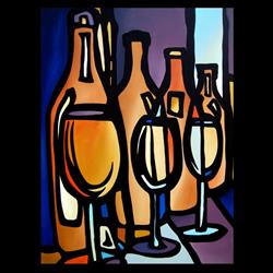 Art: Wine 113 3040 Original Abstract Art Lineup by Artist Thomas C. Fedro