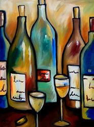 Art: Wine 114 3040 Original Abstract Art Assorted Spirits by Artist Thomas C. Fedro