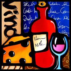 Art: Wine 115 2424 GW Original Abstract Art Good To Me by Artist Thomas C. Fedro