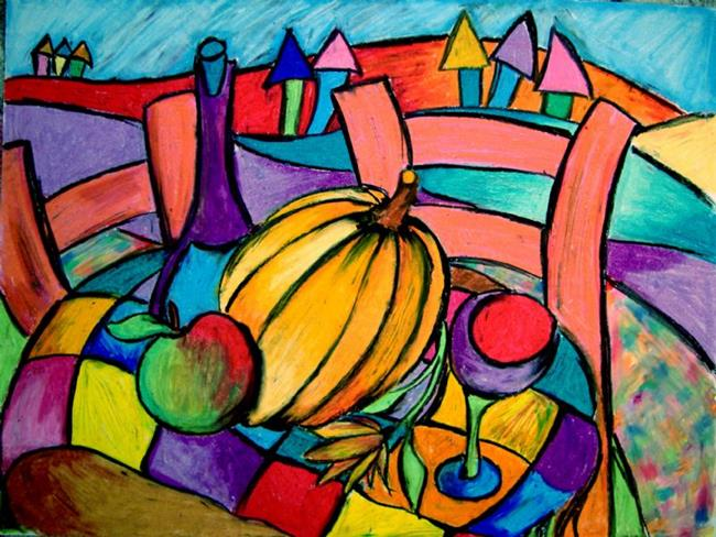 Art: Pumpkin, Wine, Apple (SOLD) by Artist Chris Jeanguenat