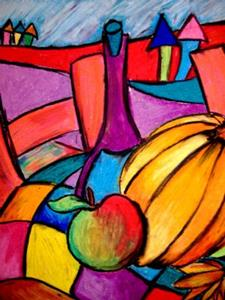 Detail Image for art Pumpkin, Wine, Apple (SOLD)