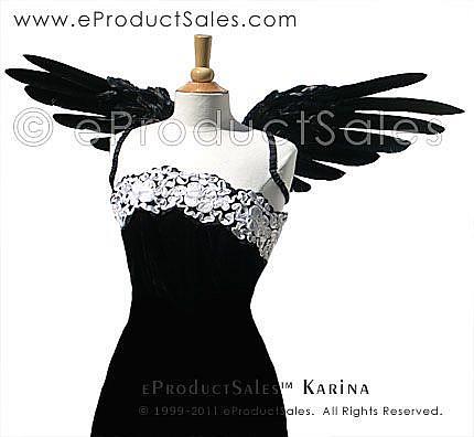 Art: eProductSales Original Karina Black feather Angel Wings by Artist Rose LaFleur