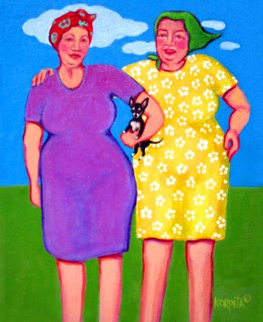 Art: Two Women and a Chihuahua by Artist Rebecca Stringer Korpita